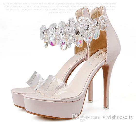 c4b9caad93f Sexy Bride Wedding Shoes Transparent Rhinestone High Heels Shoes Fashion  Luxury Designer Women Shoes Nude Black Size 34 To 39 Women Dress Shoes  Women ...