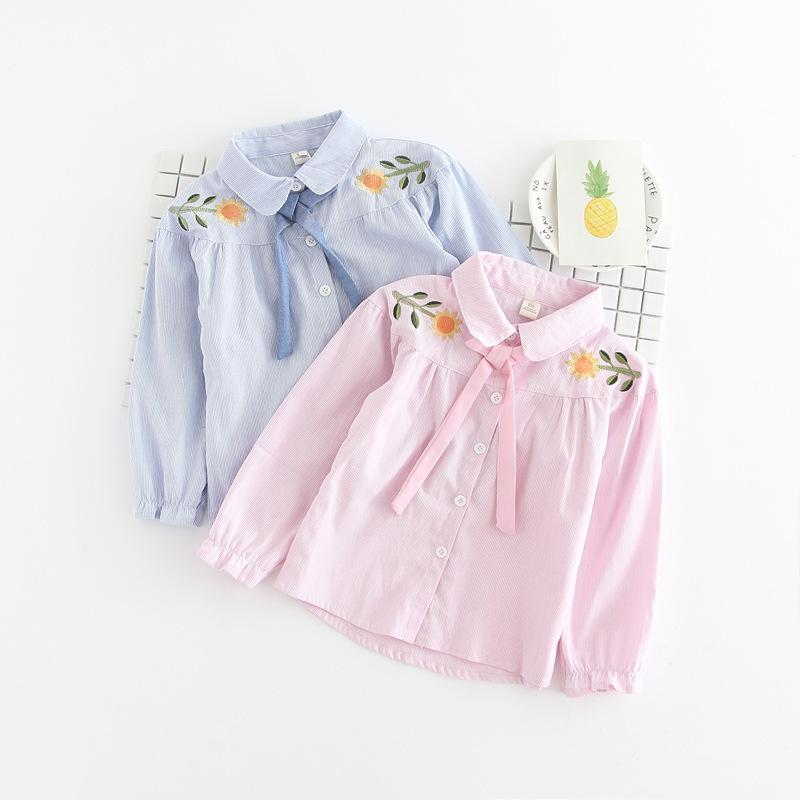 Baby Girls Blouses Tops Teenagers with Collar Flower Long Sleeve Autumn Girls Tops Tees Blouses Designs Shirts baby girl clothes