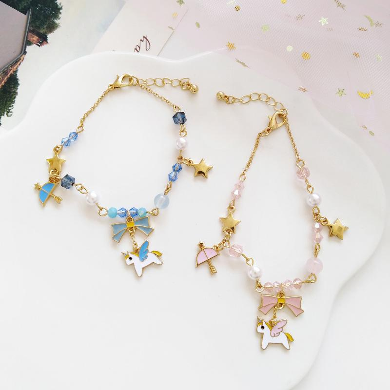 Unicorn Horse Star Moon Gold Silver Color Alloy Pendant Bracelet For Women Girl Bangles Jewelry