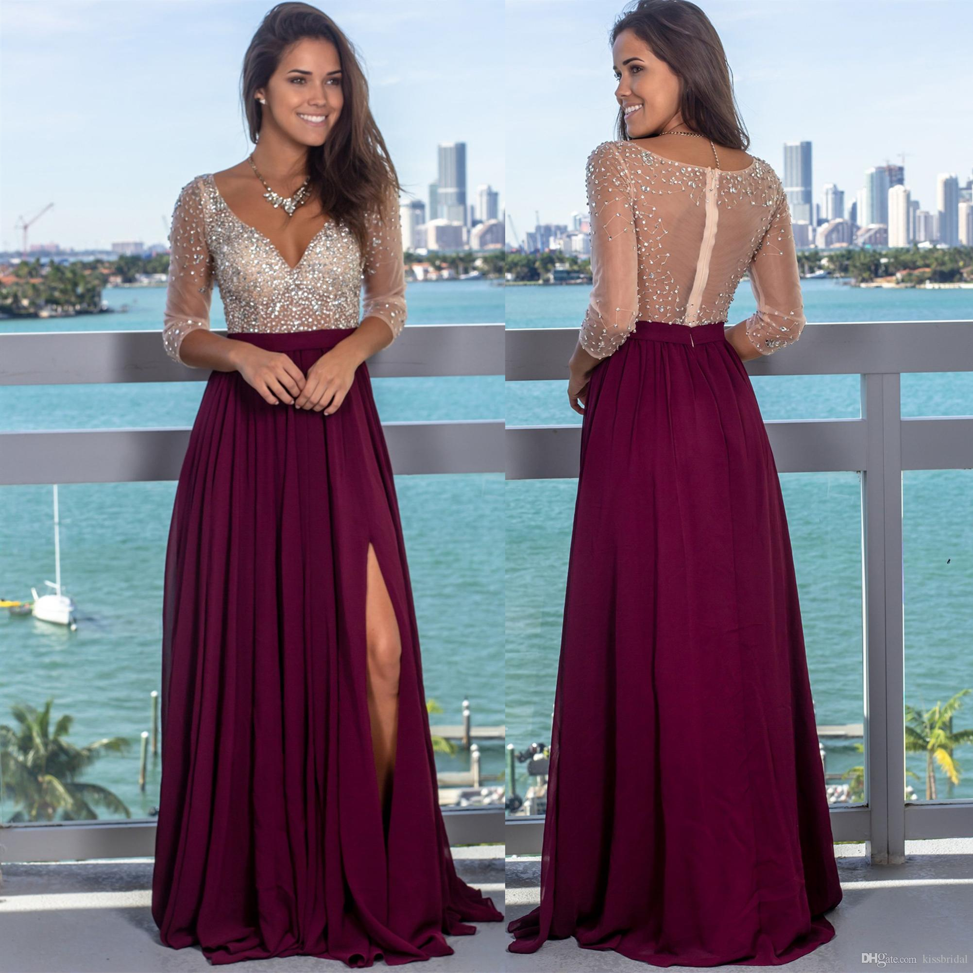 a6c56b67833 Crystal Beaded Prom Dresses Long Sleeve V Neck Sheer Back Split Formal  Evening Gowns Chiffon Maxi Dress Cocktail Party Ball Bridesmaid Gown Canada  2019 From ...