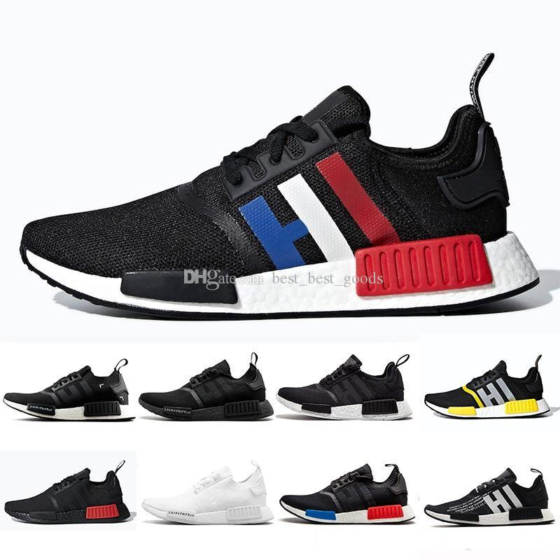 newest 80402 bdcc9 2019 Bred Tri-Color NMD R1 Running shoes OREO Thunder Runner Japanese  Primeknit PK OG Triple black White Men Women Runner Sports Sneakers