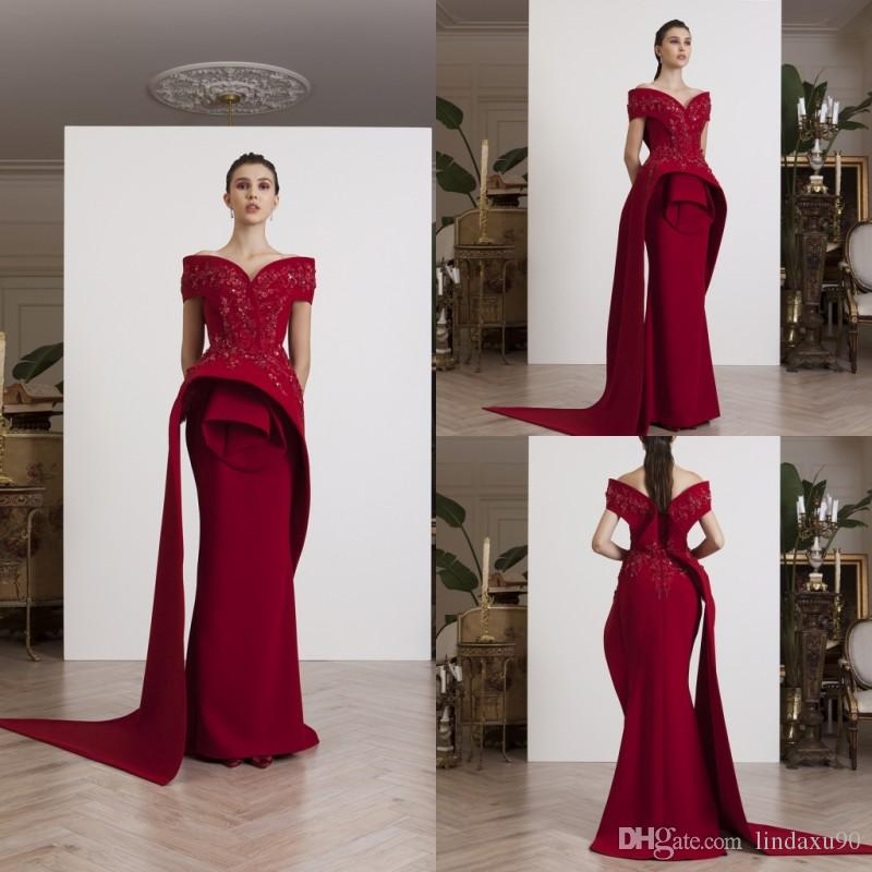 9a05726efd1 Azzi Osta 2019 Mermaid Evening Dresses Dark Red Off The Shoulder Prom Dress  Lace Appliqued Beads Floor Length Formal Party Dress Strapless Dresses  Cheap ...