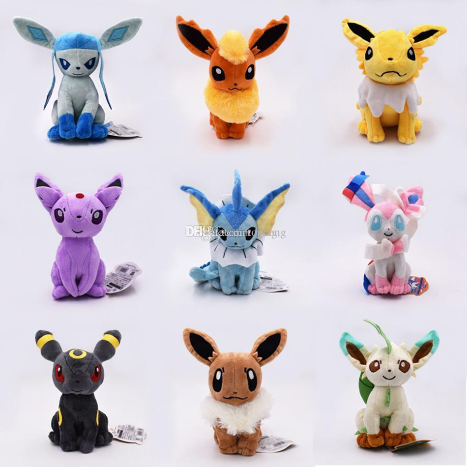 Pokemons Eevee family Plush toys Soft stuffed cute Grab machine Doll For Children birthday best gift high quality