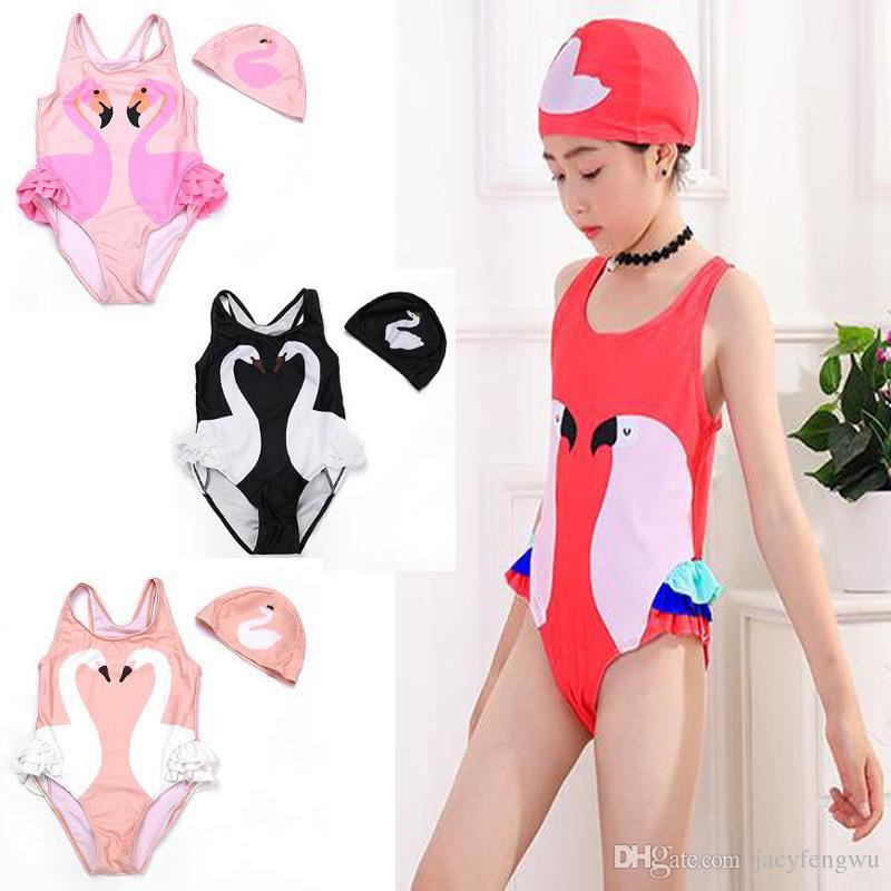 2e3504cf6b35 2019 Quality Kids Swimwear Romper Jumpsuit Girls Swimsuit Hat Baby ...