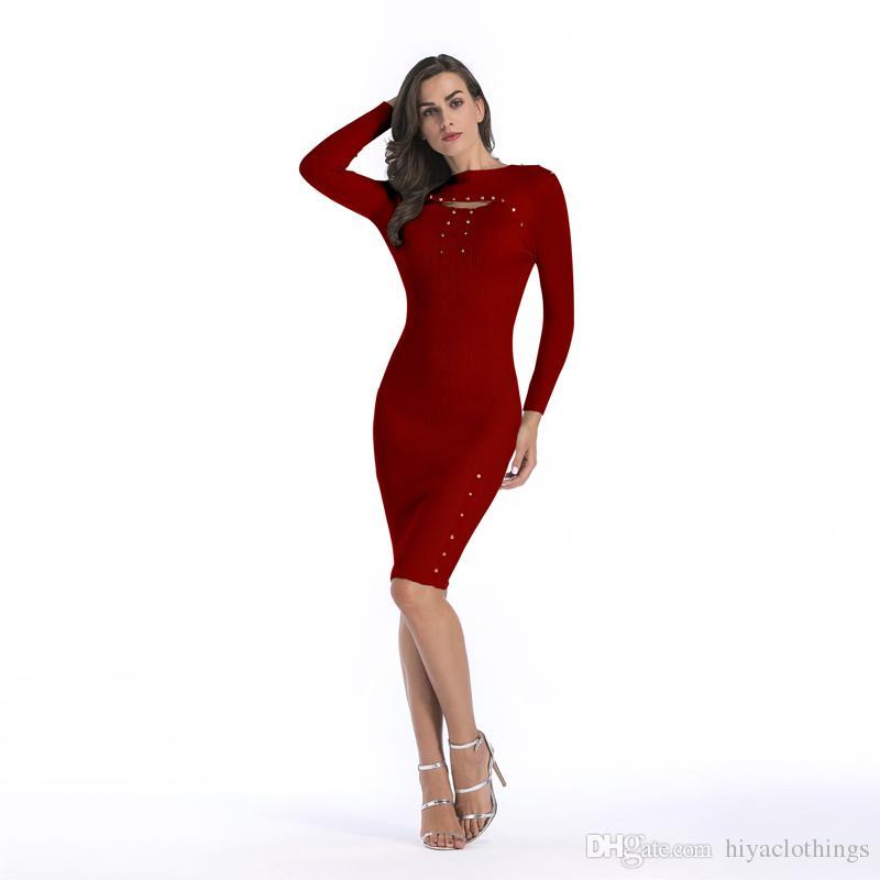 25df067e652 Acheter Robe Pull À Manches Longues Du Nouvel An Automne Et Hiver Nouvelle  Robe Des Femmes Wrap Jupe Fesses Slim Longue Jupe Moulante Élégante Manches  ...