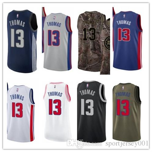 new style e2892 2a7f0 custom 2019 Detroit Piston Jerseys #13 Khyri Thomas Jerseys  men#WOMEN#YOUTH#Men's Baseball Jersey Majestic basketball jersey