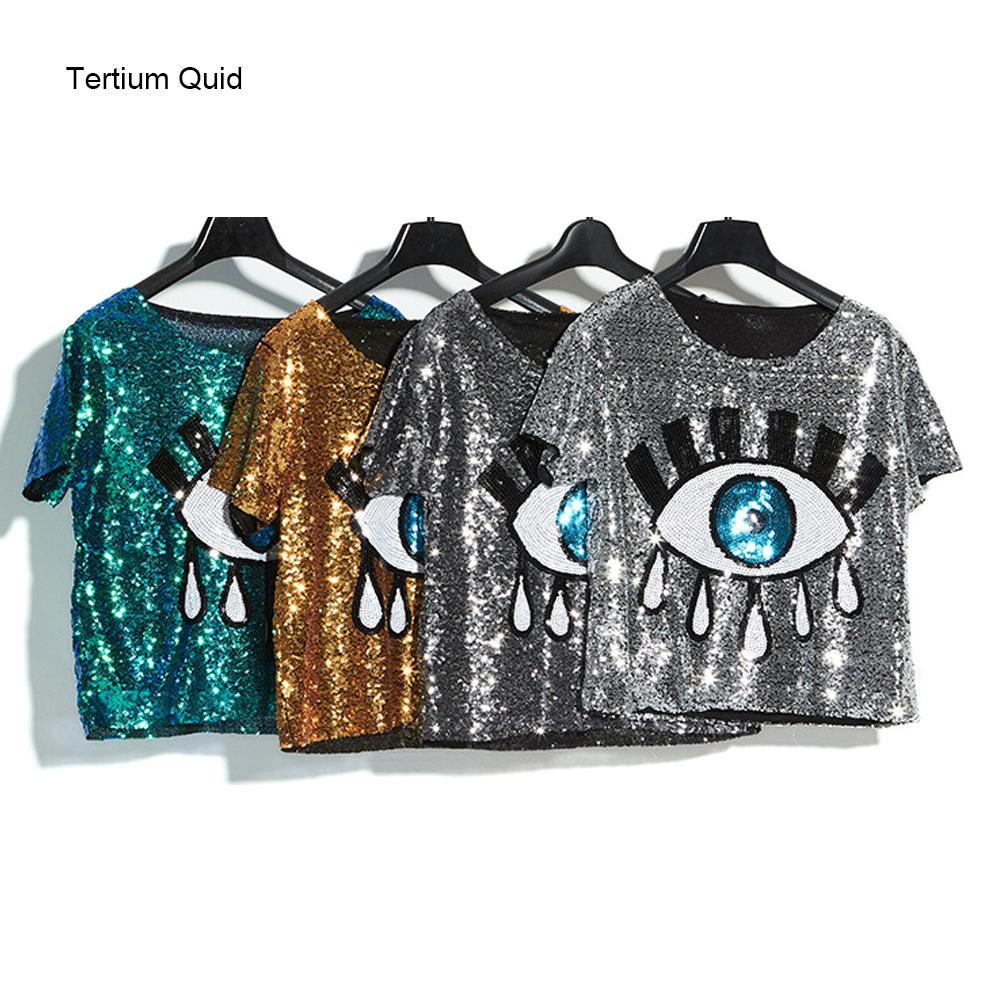 eb6f689f 2018 Summer High Quality Woman Sequined Tops Shiny Big Eyes Girls Dancing T  Shirt Short Crop Top Club Wear Q190429 Shirt Design Tees From Shen8403, ...