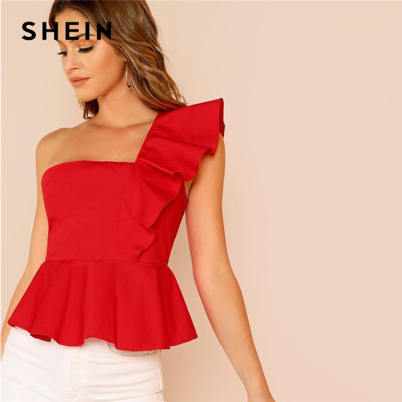 9c48d094416 2019 Glamorous Red Ruffle Trim One Shoulder Peplum Slim Fit Peplum Plain Top  Cap Sleeve Blouse Women Spring Elegant Blouses C19041001 From Linmei0004,  ...
