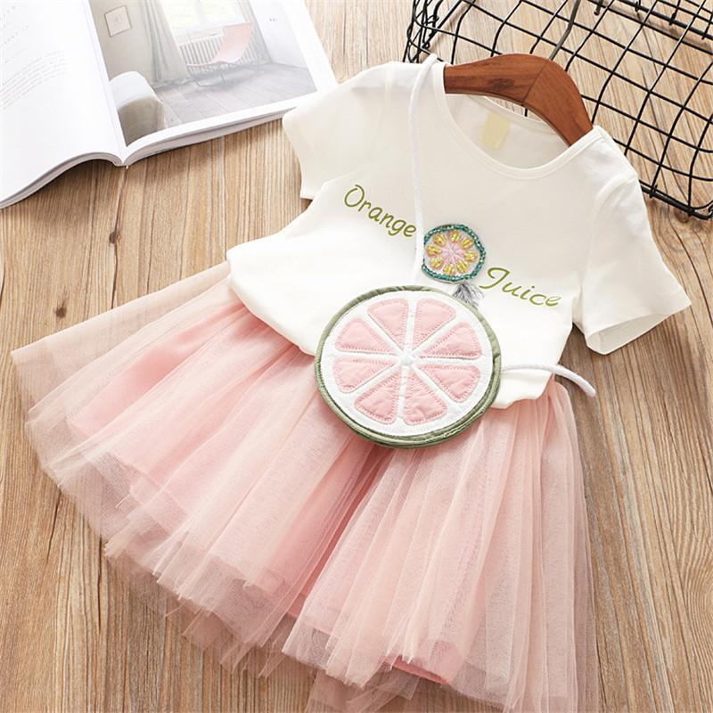 0-7 years 2019 summer new fashion cartoon baby kid children baby girl clothing mesh ball gown princess girls dress with bag