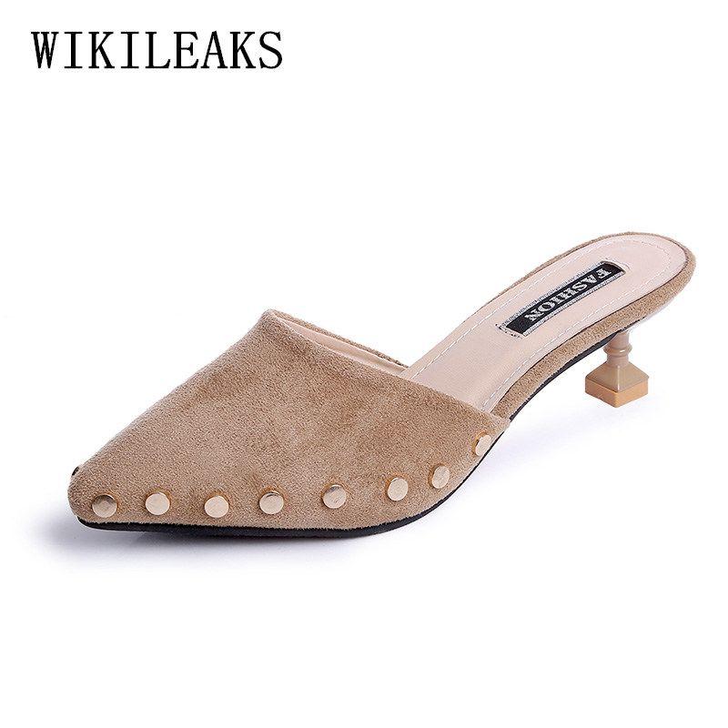 9aea47d68113f Compre Zapatos De Vestir De Diseñador Bombas Mujer Verano 2019 Para Mujer  Tacón Alto Punta Estrecha Mulas Tacones Mujeres Tacones Altos Mujer Sexy  Scarpe A ...