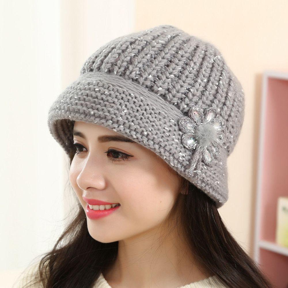 d05c88286b5 2019 Hot Caps For Womens Flower Knit Crochet Beanie Hat Lady Casual Winter  Warm Cap Beret Accessories Autumn Winter Caps From Fotiaoqia