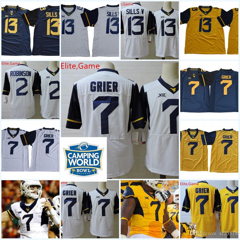 2019 Mens NCAA West Virginia Mountaineers Will Grier College Football  Jerseys 2 Kenny Robinson 13 David Sills V West Virginia Mountaineers Jersey  From ... 4b17e3ff7