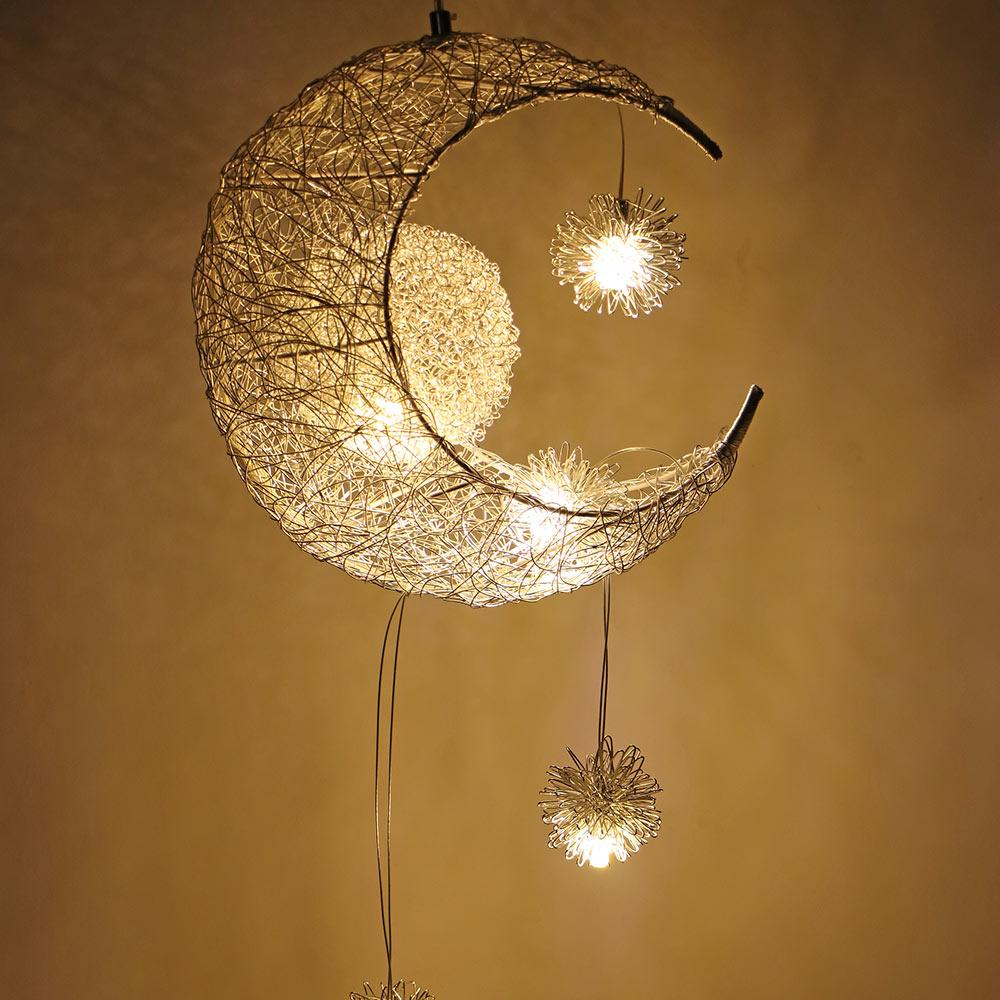 Modern pendant ceiling lamps moon star chandelier children bedroom hanging lamp christmas decorations for home fixture lighting