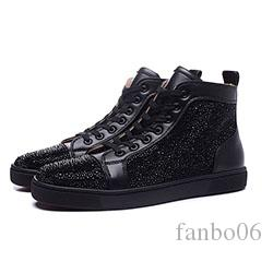 Men Glitter Leather Sneakers Red Bottom Shoes Brand Designer High Cut Spikes Orlato Men's Flat Walking Party Dress Shoes Trainers a0636