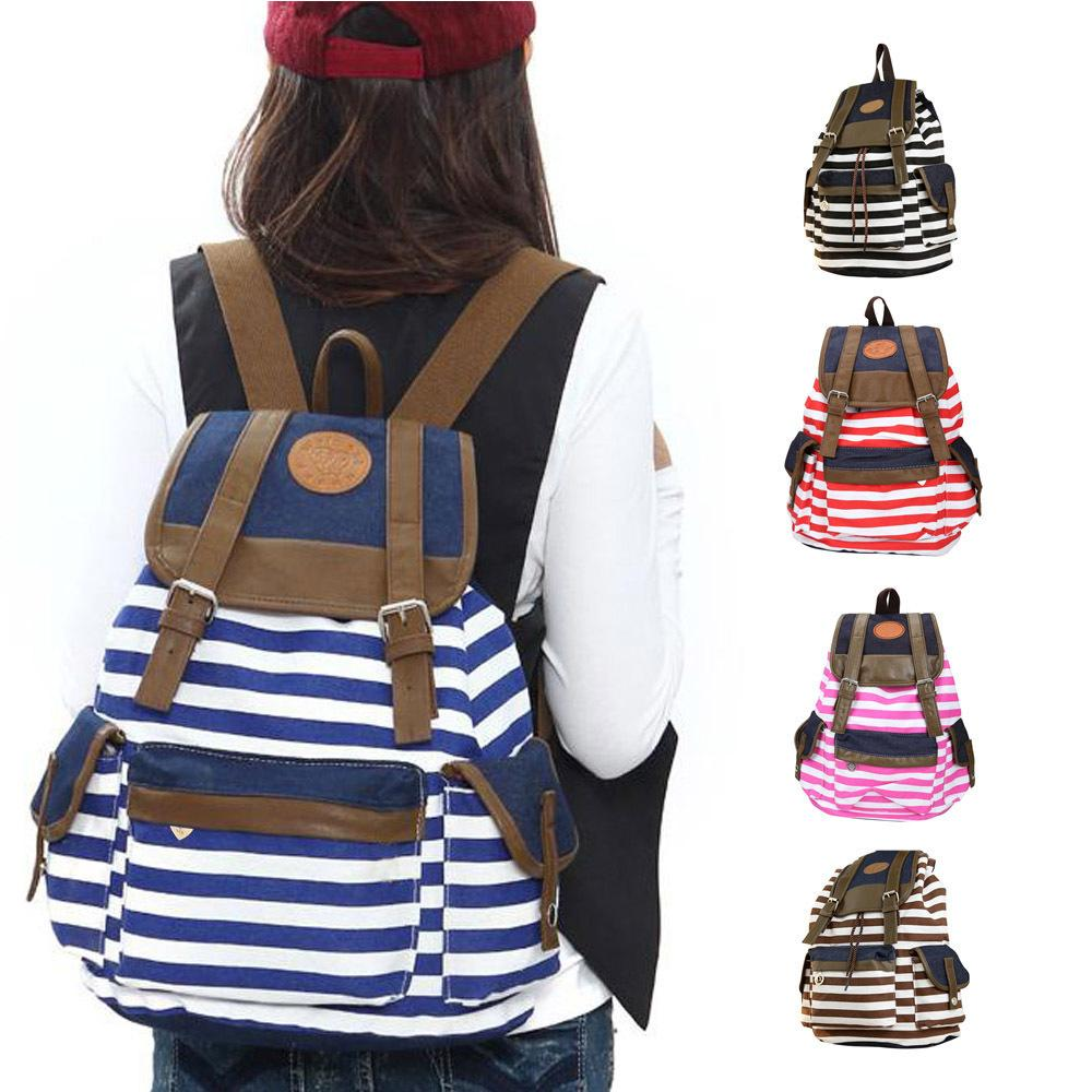 Unisex Fashion Strip Canvas Casual Bag Backpack Satchel For Women Men 5 Colors Women Bag