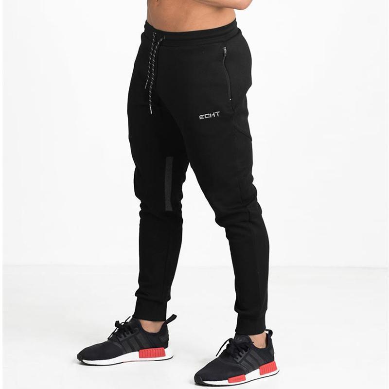 Compre Pantalones Deportivos Para Hombre Bolsillos Con Cremallera De Secado  Rápido Pantalones De Jogging Hombres Gimnasio Fitness Pantalones Correr ... b72a4d8af45f9