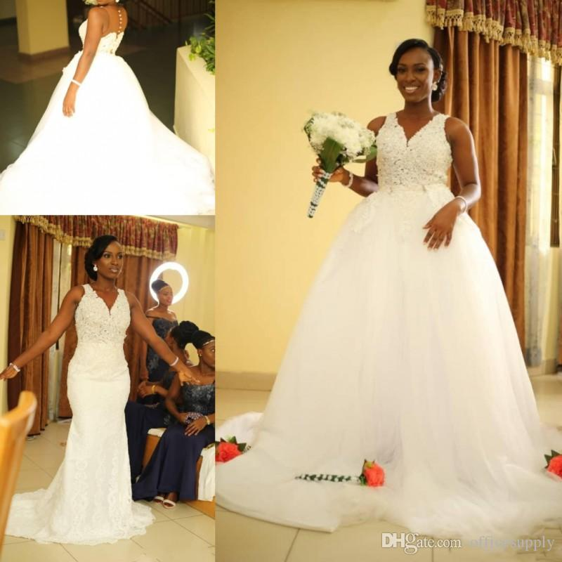 African Mermaid Wedding Dresses with Detachable Train V Neck See Through Appliques Black Girl Garden Country Plus Size Bridal Gowns