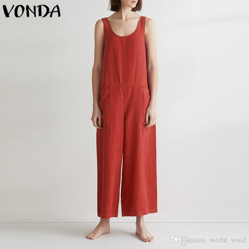 402fe0ded3f 2019 VONDA Women Wide Leg Pants 2018 Summer Bottoms Casual Loose Sexy  Sleeveless Cotton Jumpsuit Baggy Overalls Trousers Bodysuit 5XL  400826  From ...