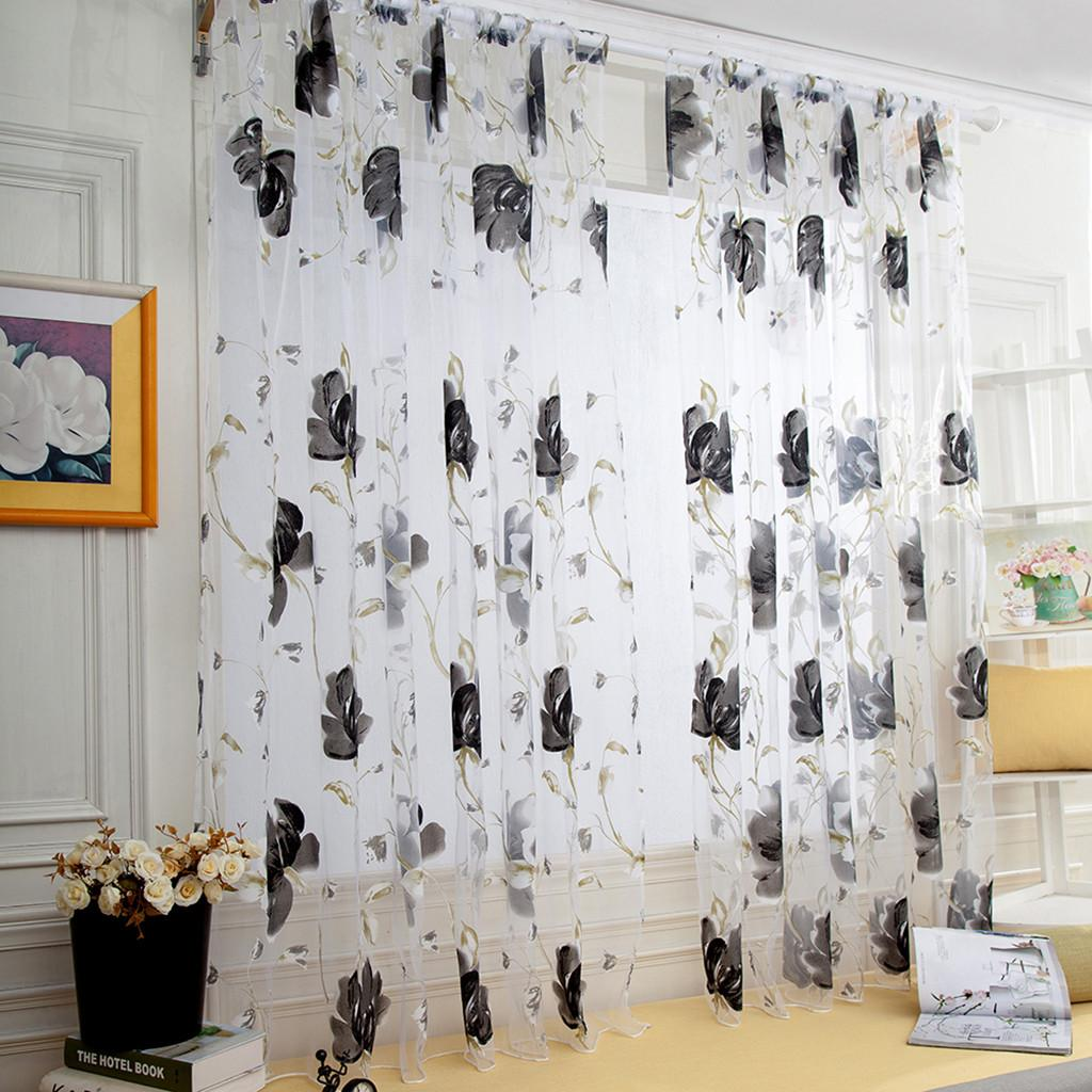 1 Pcs Vines Leaves Tulle Window Curtain Modern Living Room Bedroom Drape Panel Sheer Scarf Valances New Curtain Home Decor