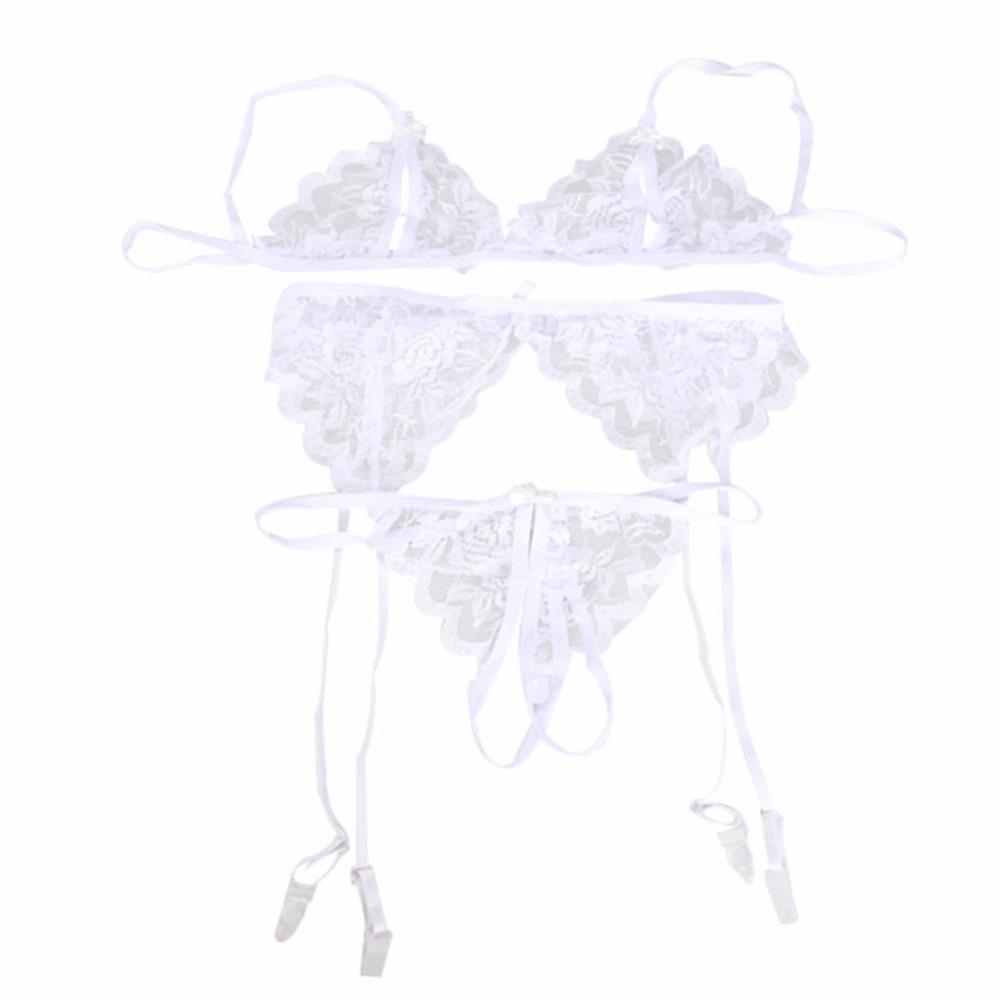 Nouvelle Mode Solide Couleur Sexy Dame Exotique Vêtements Fille Dentelle Open Soutien-Gorge Femmes Vêtements De Nuit T-dos Jarretière Lingerie Ensemble LB