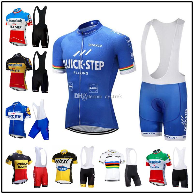 2019 Summer Quick step Team Men's Cycling Jersey Bib shorts 9D Gel Pad Sets Breathable short sleeve Cycling Clothing Ropa Ciclismo Maillot
