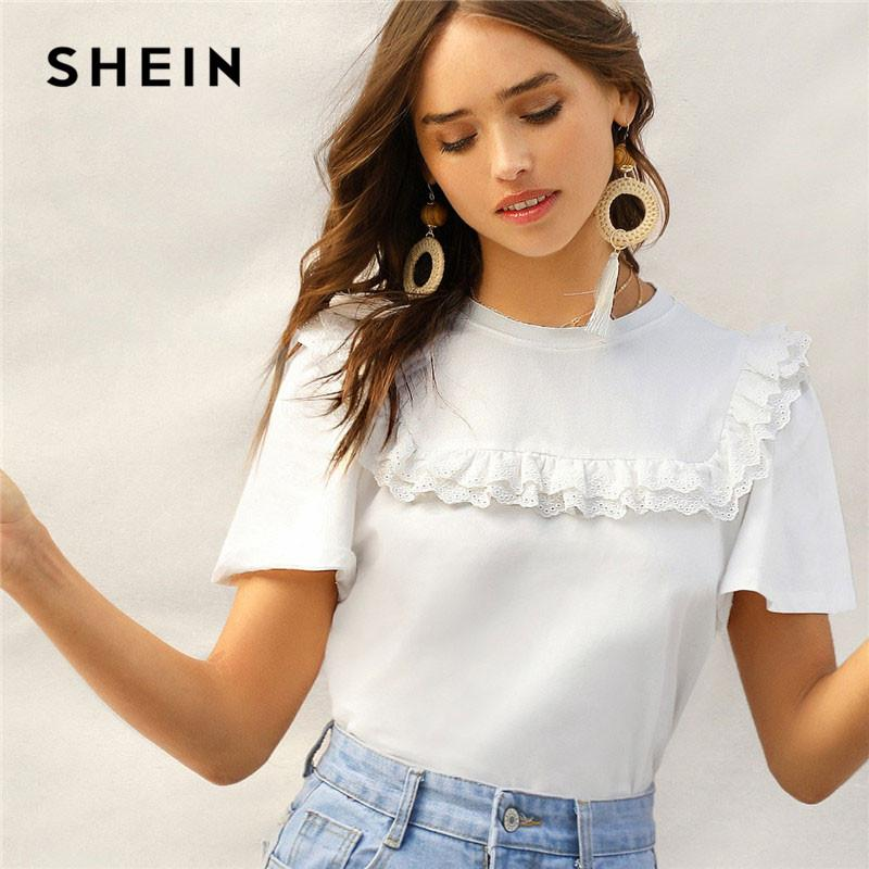 18961a9c08 SHEIN Lady Cute Layered Eyelet Embroidered Ruffle White Tee Summer Casual  Round Neck Flounce Sleeve Solid Women Tshirt Shirt With T Shirt Buy Funny T  Shirts ...