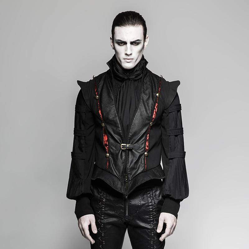 official photos 4d84c 18e07 Gilet in pelle da uomo nero retrò Century Fashion di Steampunk