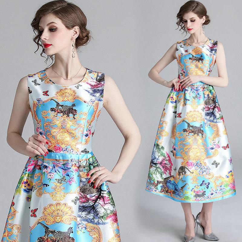 e0214eb213d 2019 New Arrival Prom Dress Sleeveless Retro Printed Big Swing Dress Womens  Fashion Sweet Princess Dress Fashion Dinner Party Evening Dresses From  Wrjmike
