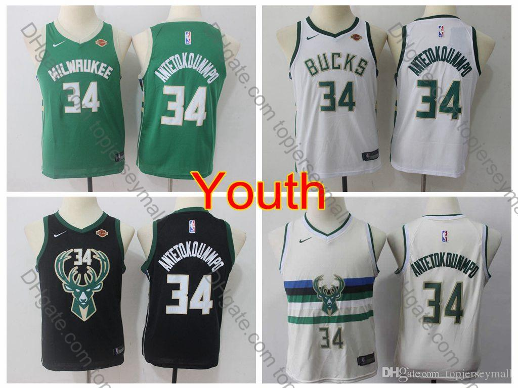 super popular ea7d0 7a7f7 2019 Boys Milwaukee #34 Bucks Giannis Antetokounmpo Kids Basketball Jerseys  Youth Giannis Antetokounmpo Green Black White Stitched S-XL