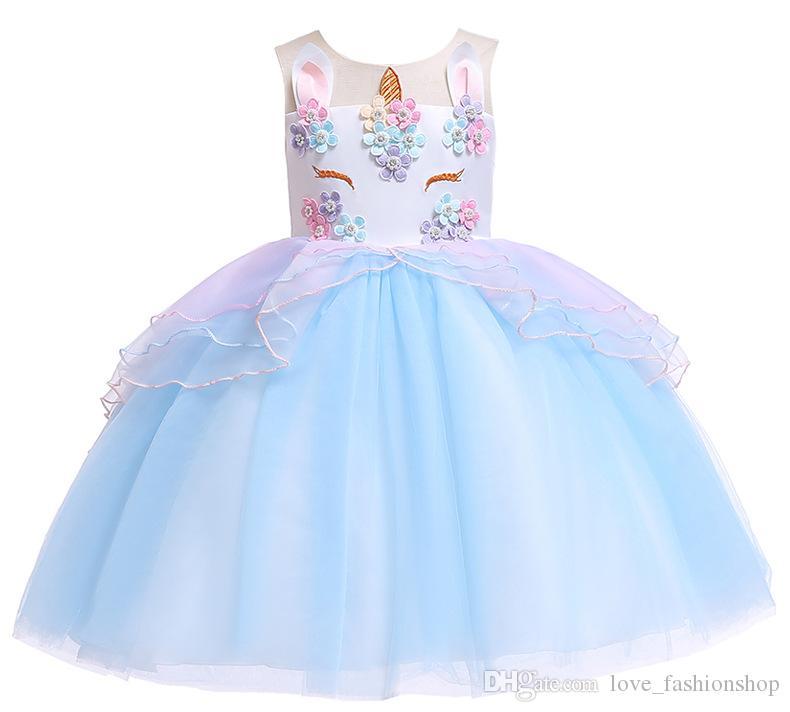 28d66483b60419 1pcs 2019 Filles Licorne Costume Tulle Princesse Tutu Robe 5 couleurs Sans  Manches Fête D anniversaire Fantaisie Robes De Mariage De Pâques Enfants ...