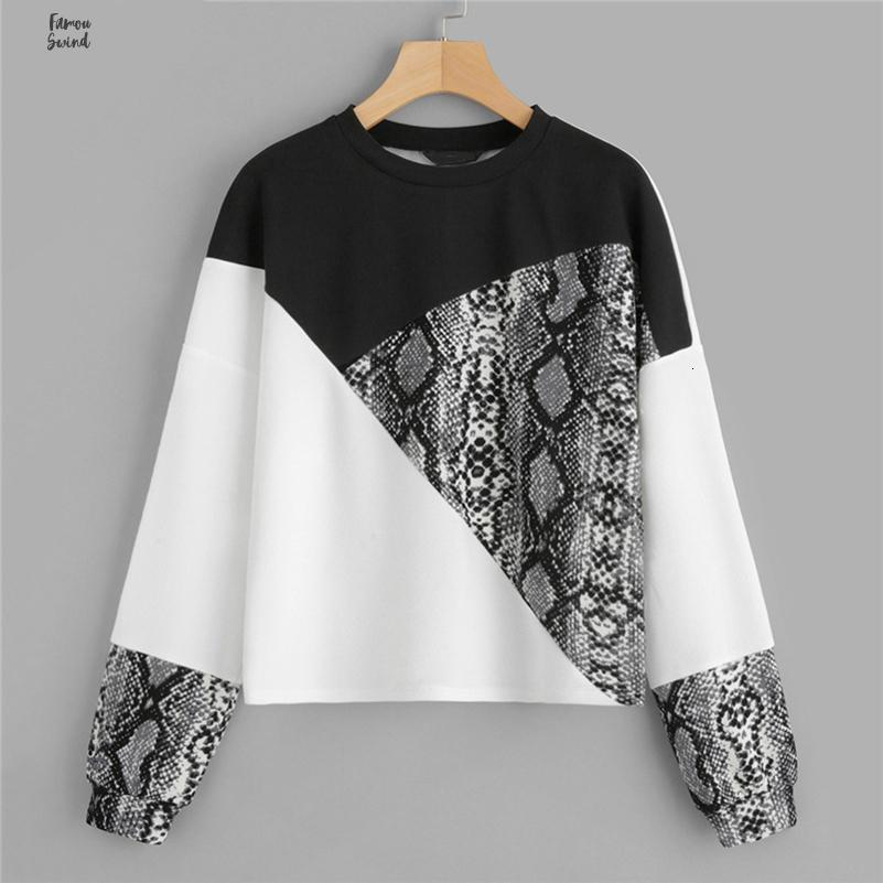 Color Block Snake Pullover Skin Long Sleeve O Neck Streetwear Jumpers O Neck Fashion Autumn Casual Womens Sweatshirts Drop Shipping