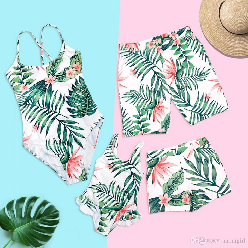 Family Matching Summer Swimwear Baby Girl Boy Mom Dad Bathing cloth green leaf one piece Swimsuit