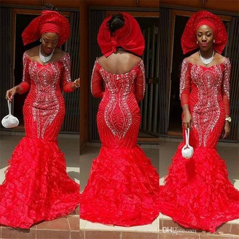2019 Luxury Red South African Lady Beaded Evening Dresses Off The Shoulder  Tiered Skirt Formal Party Gown Beading Prom Reception Dresses Dress Shop  Online ... 17f7982e4ff1