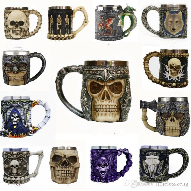 Double-deck Stainless Steel Mugs Hallowmas Party Wine Glass 3D Skull Skeleton Punk Style Drinking Cup Whisky Glass Bar Decorations