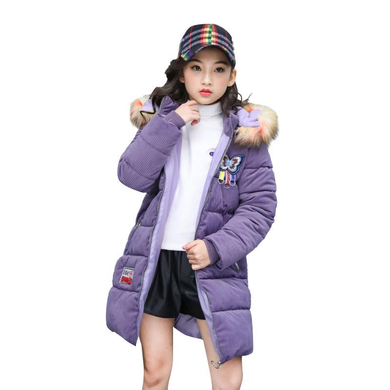 best website c70fa ae295 Mädchen Wintermantel Kinder Daunenjacke Mäntel Fell Kapuze Parkas Mädchen  Winterjacke Kinder Schnee tragen Jacke
