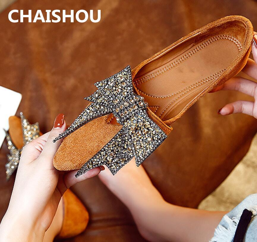 1a6ee75b87dc CHAISHOU 2019 New Fashion Women Flat Casual Shoes Suede Pointed Shallow  Mouth Plus Size Rhinestone Bow Shoes Zapatos Mujer B 60 Dress Shoes Wedge  Shoes From ...