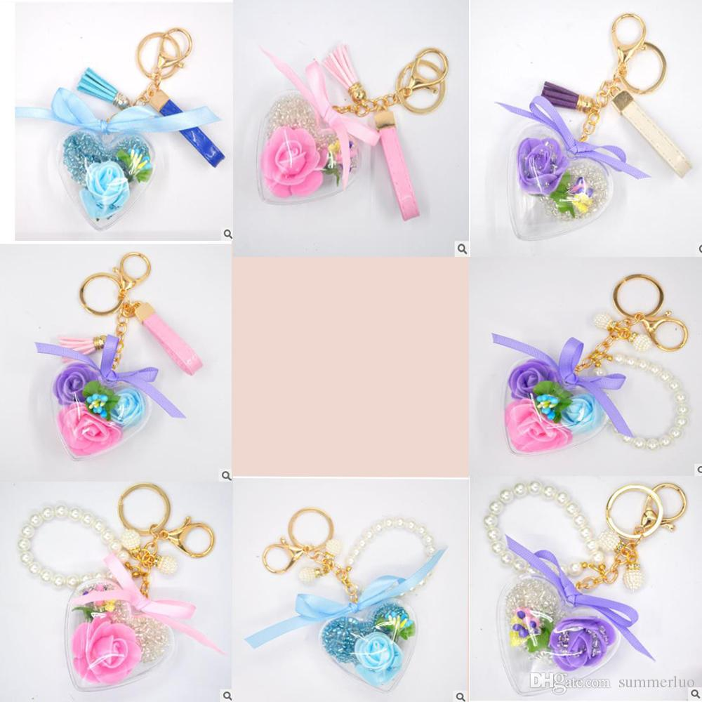 New Quicksand Ball Wishing Ball Heart-shaped Pendant Keychain Bag Mobile Phone Pendant Flower Acrylic Glass Beads Car Keyring Key Ring