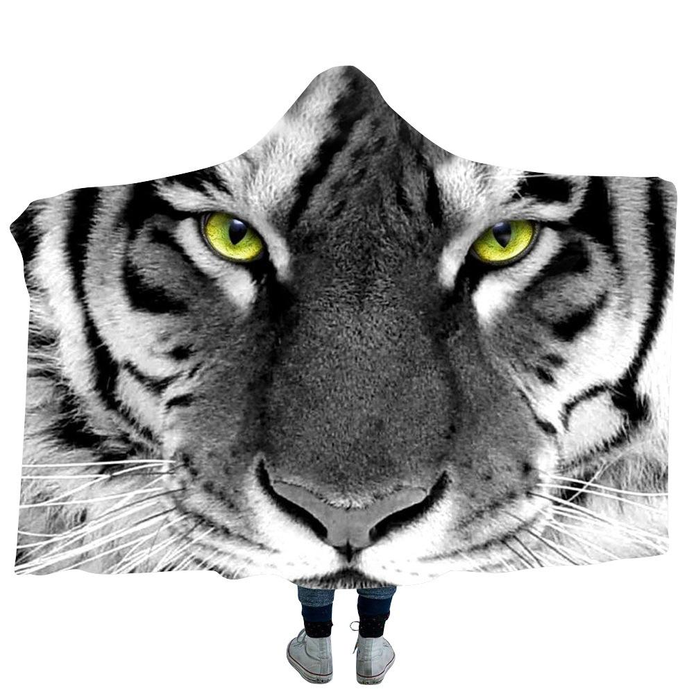 White Tiger 3d Printed Plush Hooded Blanket For Beds Warm Wearable Soft Fleece Throw Blankets2019