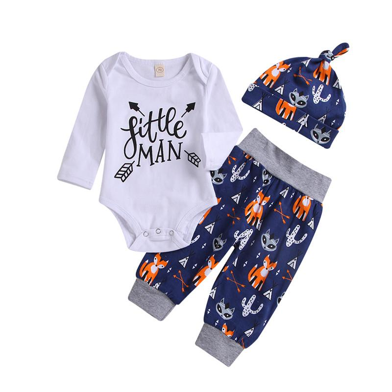 441623b541e8 Newborn Autumn Clothes Baby Boy Little Man Sets Long Sleeve Letter ...