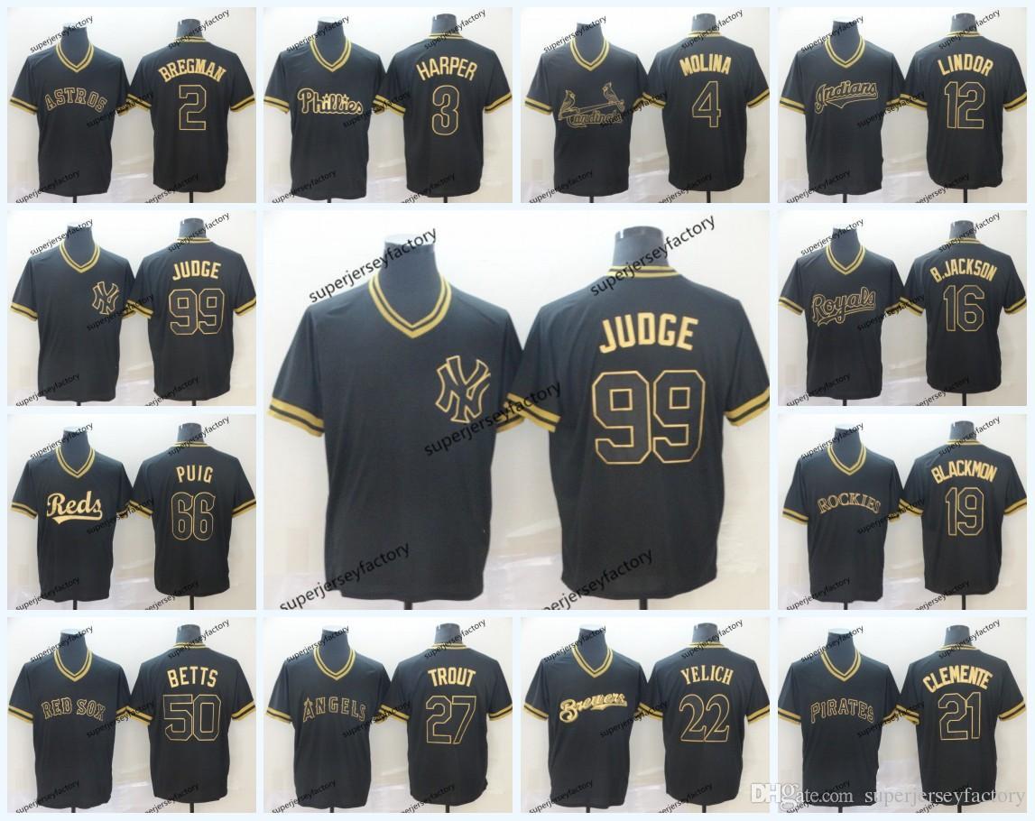 promo code 83e63 73f3f 2019 Black Gold Baseball Jerseys 22 Clayton Kershaw 3 Bryce Harper 21  Roberto Clemente 4 Yadier Molina 66 Yasiel Puig 50 Mookie Betts