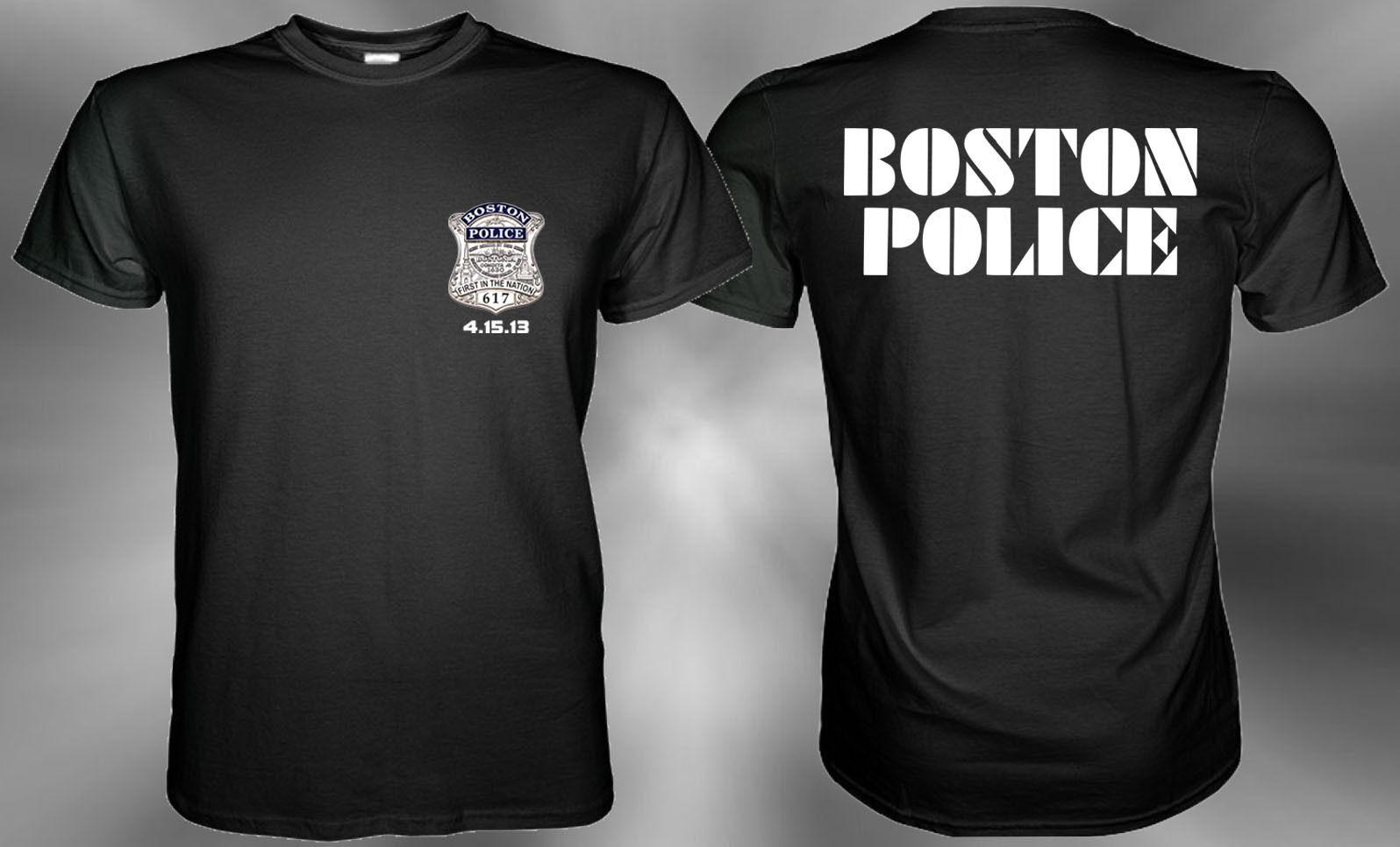 b8feabfe1dd3 Boston Police Black T Shirt Size S, M, L, XL, 2XL, 3XL Hip Hop Style Tops Tee  Shirt Casual Man Short Sleeve Leisure Online Shopping T Shirt Cool Shirts  ...