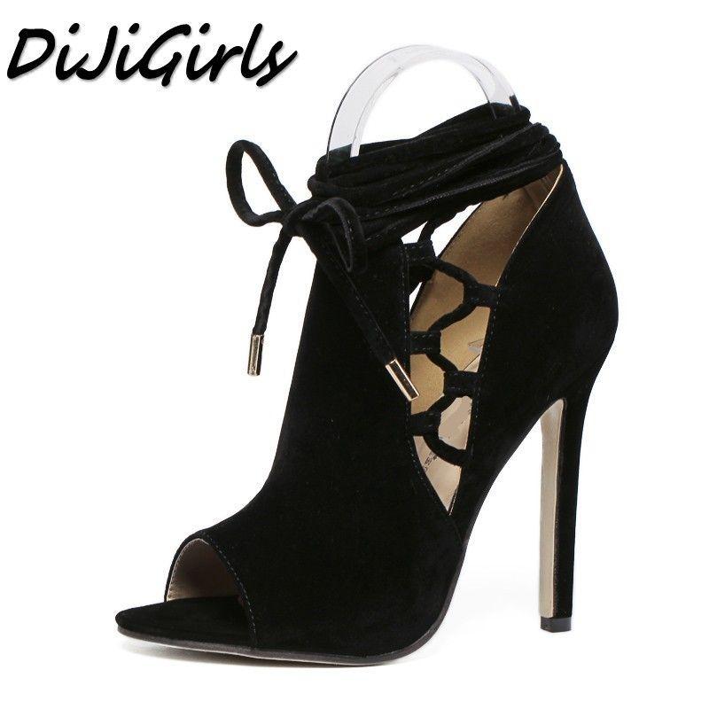 2c18591fc Compre Vestido Dijigirls Mulheres Gladiador Sandálias Sapatos De Salto Alto  Mulher Vestido De Festa De Casamento Ol Senhoras Stiletto Peep Toe  Slingback ...
