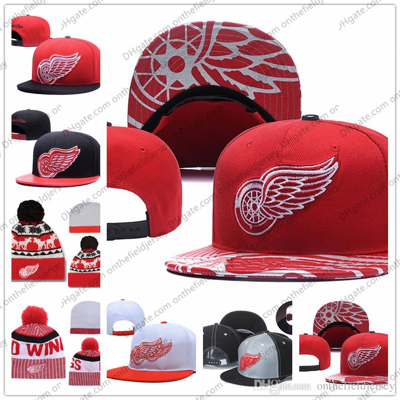 5b2f285155e277 Men's Detroit Red Wings Ice Hockey Knit Beanie Embroidery Adjustable Hat  Embroidered Snapback Red Caps Black White Stitched Knit Hat