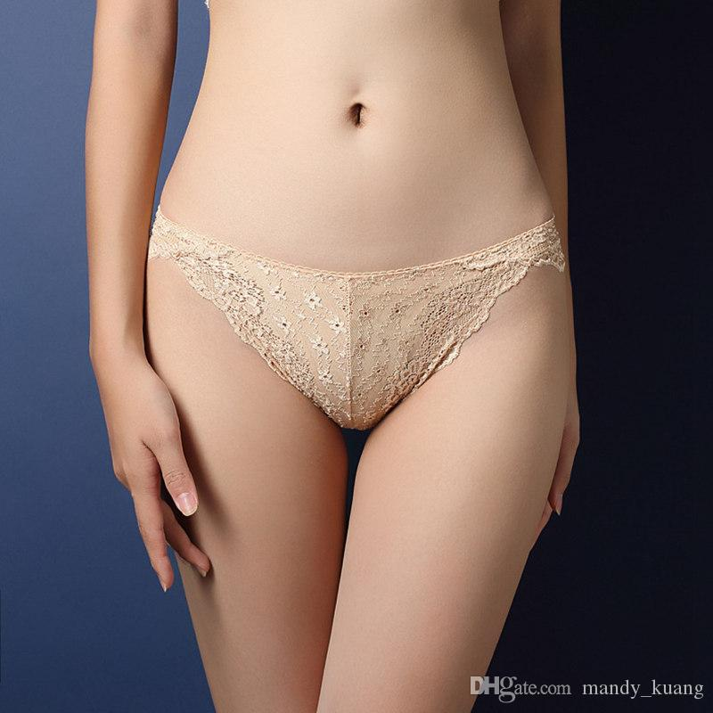 90b90109a5 Lady Low-waisted Sexy Lace Panties Seamless Women Underwear Briefs for  Ladies Cotton Transparent Lingerie