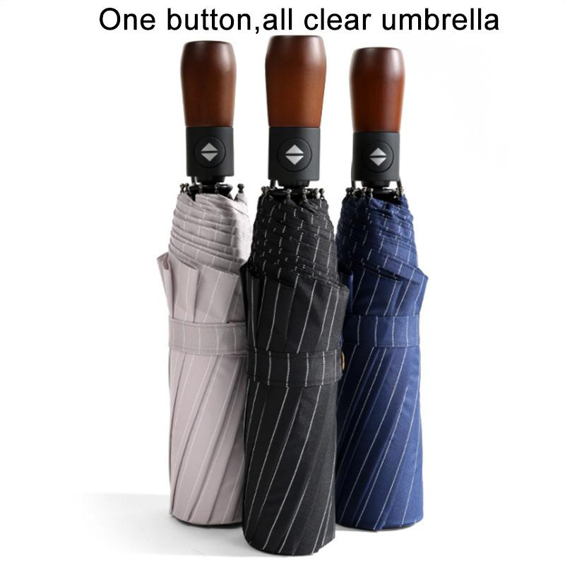 10 bone oversized business wooden handle automatic umbrella sun protection UV outdoor adult umbrella fine advertising u