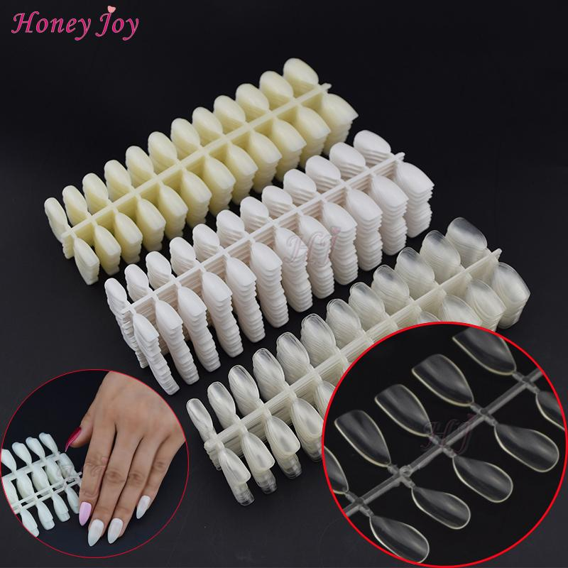 Hollow 600tips/set Almond Oval Stiletto Pointy Artificial Full Cover False Nails Tips for Polish Gel Display Color Display Card