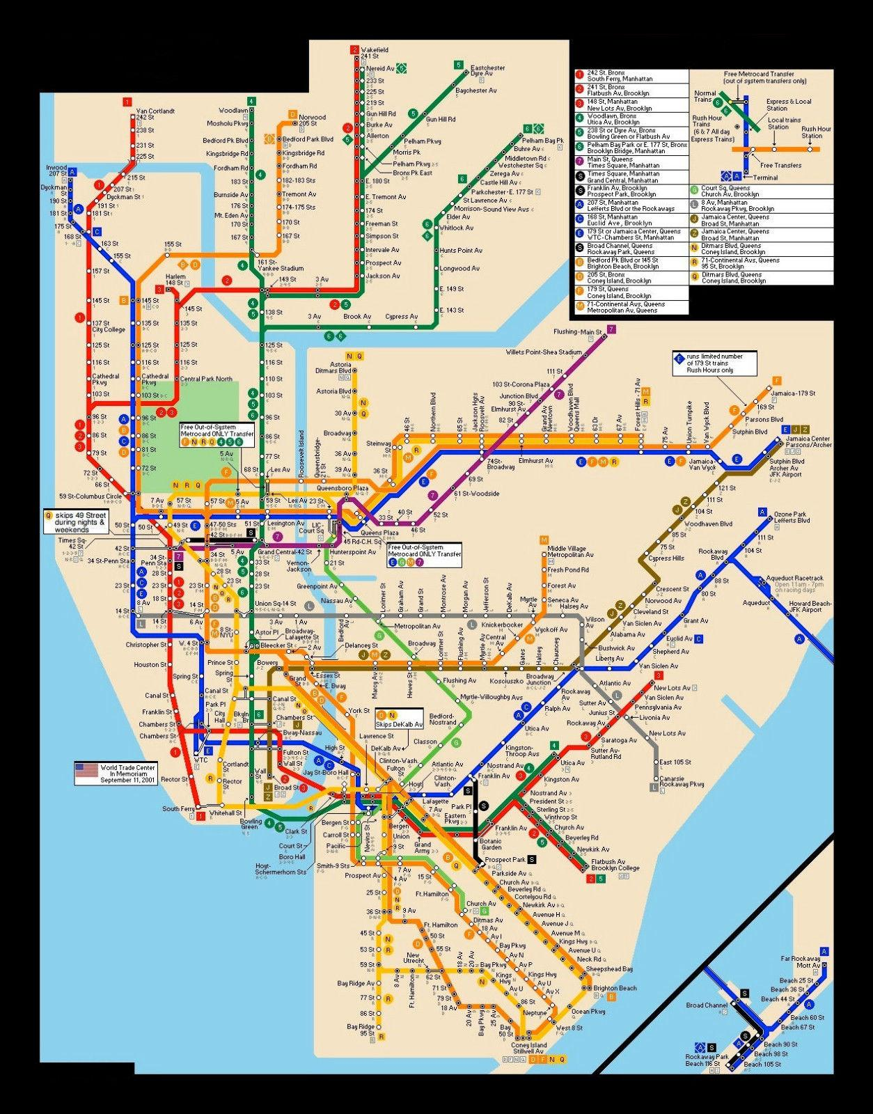 Subway Map For New York City.New York City Subway Map Art Silk Print Poster 24x36inch 60x90cm 089