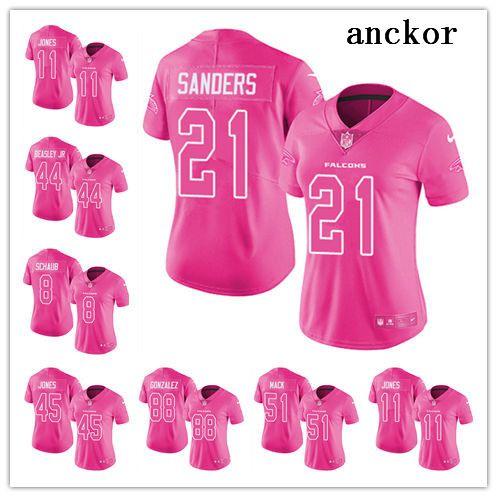 online store f431c 2d092 Atlanta WOMEN 11 Julio Jones 2 Matt Ryan 21 Deion SandersLimited Jersey  Football Falcons Pink Rush Fashion
