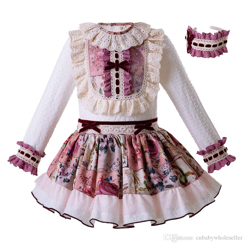 4d1810b96 Pettigirl Spanish Style Princess Kids Clothing Set With Headwear White Lace  Tops +Flower Skirts Kids Designer Clothes Girls G-DMCS106-B325