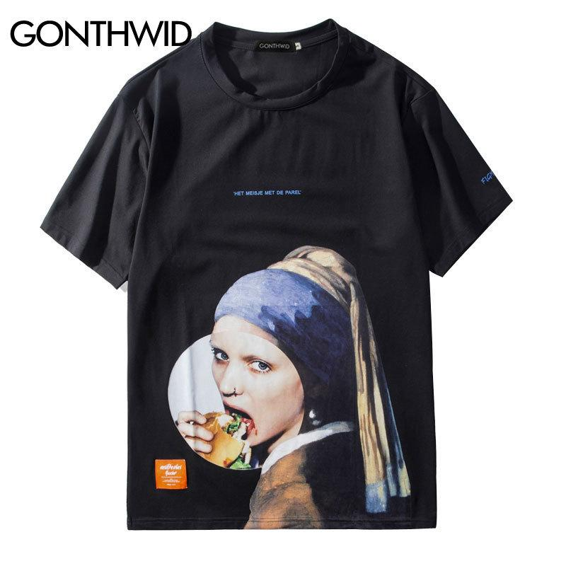aba9bee5351816 Gonthwid Girl With A Pearl Earring T Shirts Men Funny Printed Short Sleeve Streetwear  Tshirts 2019 Male Hip Hop Casual Tops Tees Y190413 Shirts With Designs ...